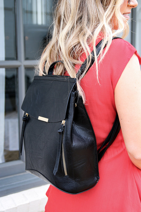 OS / Black Free Bird Faux Leather Backpack - Black - Madison + Mallory