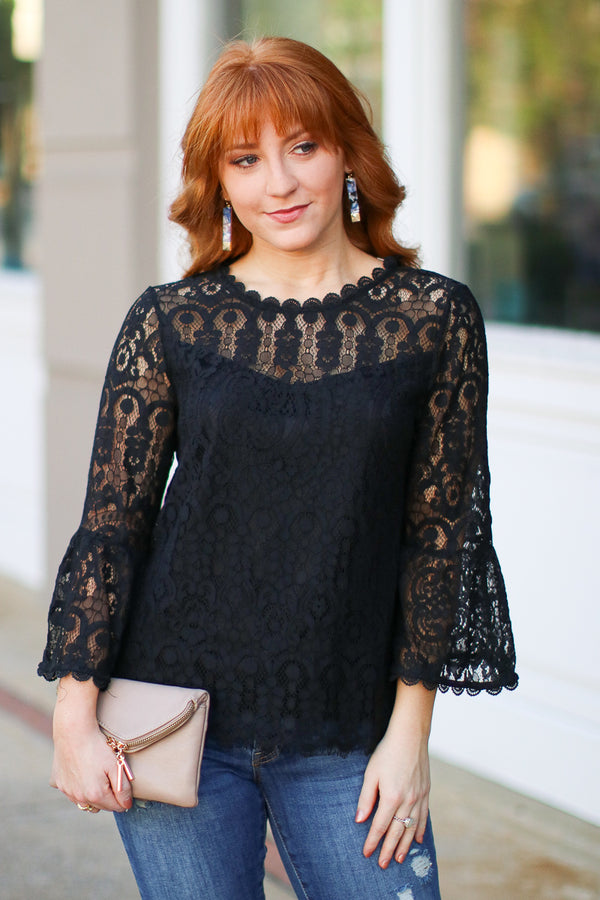 S / Black Luxe Lover Allover Lace Top - FINAL SALE - Madison + Mallory