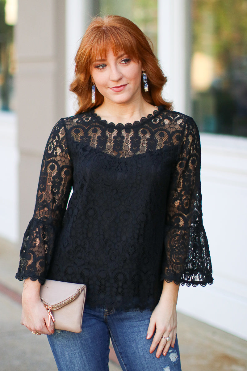S / Black Luxe Lover Allover Lace Top - Madison + Mallory