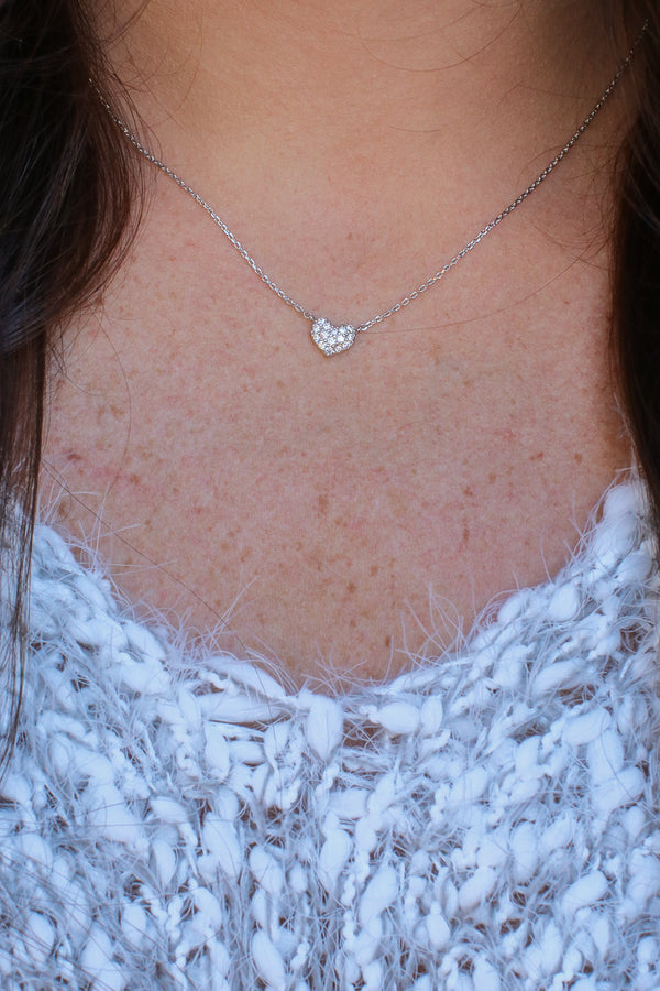 White Gold Eye Candy 14KT Pave Heart Necklace - Madison and Mallory