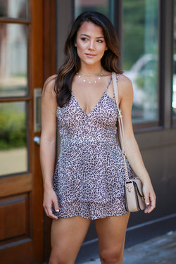 S / Pink No Other Way Ruffle Leopard Romper - FINAL SALE - Madison + Mallory
