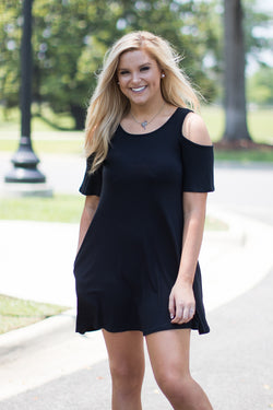 S / Black Cold Shoulder Keyhole Dress - Madison + Mallory