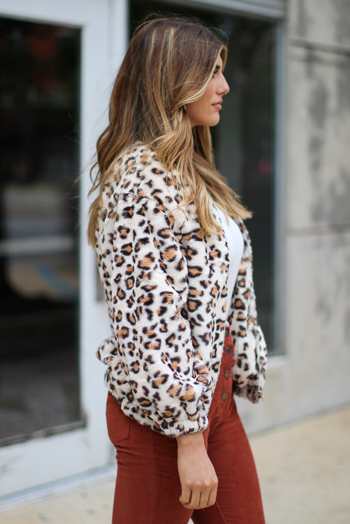 Got Your Attention Faux Fur Leopard Jacket - Madison + Mallory