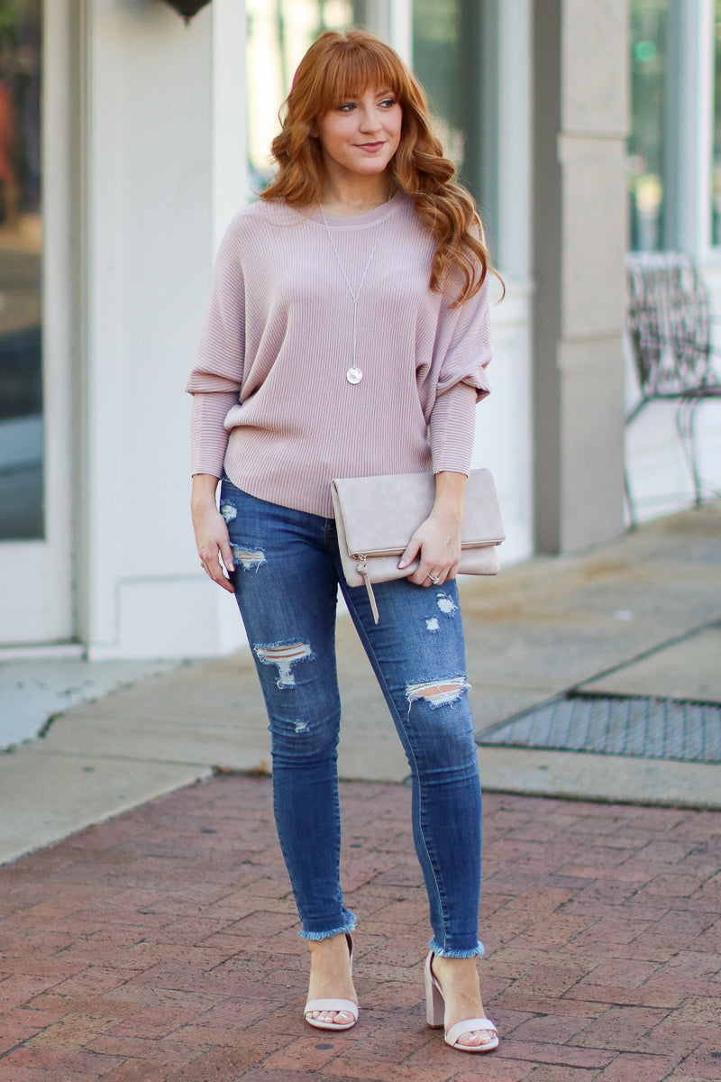 Rose / S Katie Dolman Sleeve Knit Top - Rose - Madison + Mallory