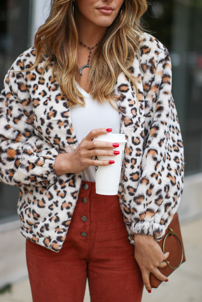 S / Cream Wild Hustle Faux Fur Leopard Jacket - Madison + Mallory