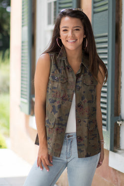 XS / Olive Floral Camo Print Vest - Madison + Mallory
