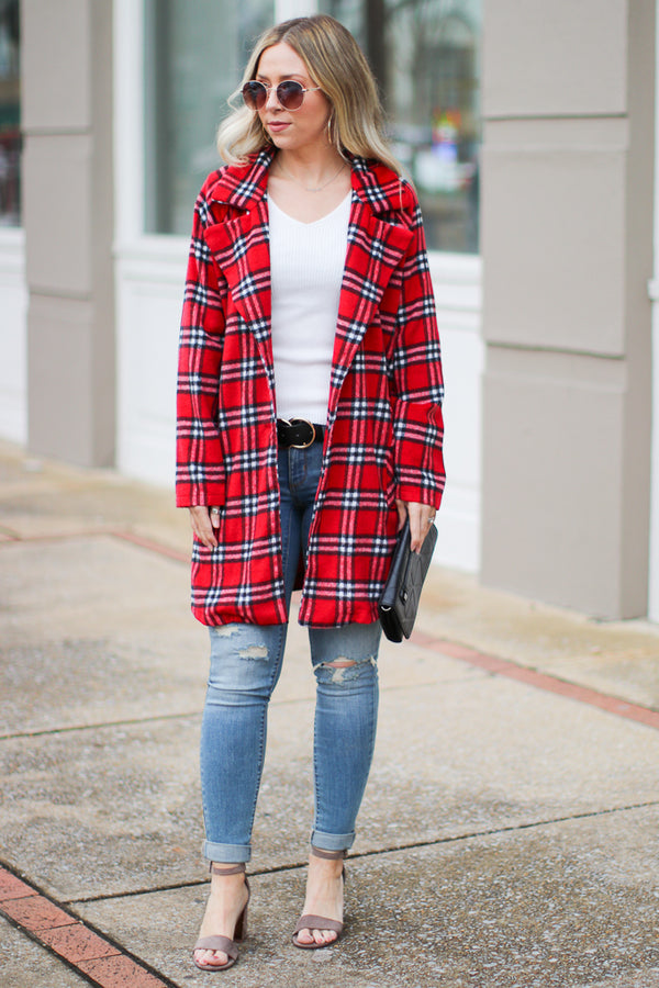 Harlow Plaid Jacket - Red - Madison + Mallory