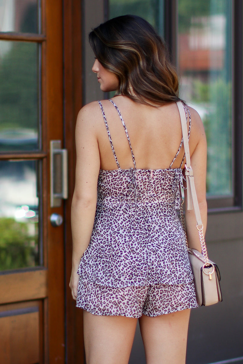 No Other Way Ruffle Leopard Romper - Madison + Mallory