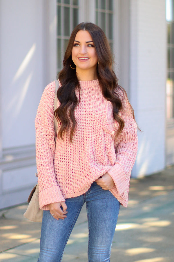 SM / Blush Always Busy Knit Sweater - Madison + Mallory