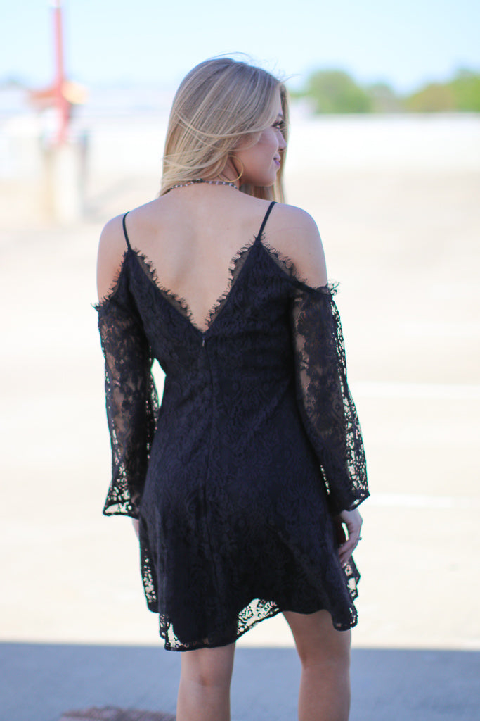 Cold Shoulder Lace Dress - Madison + Mallory