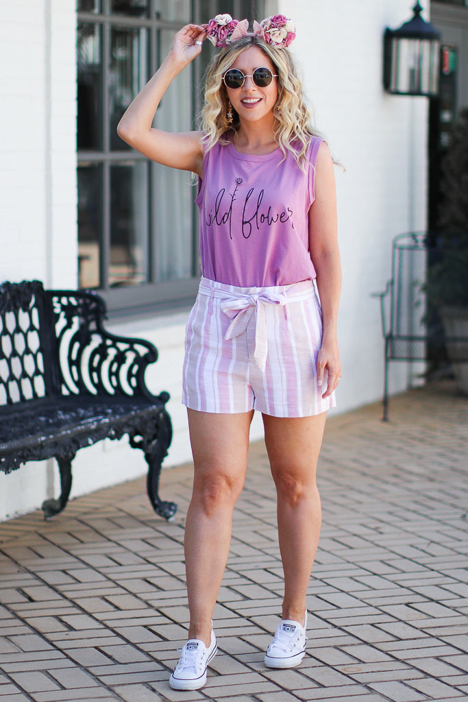 Pocketful of Sunshine Striped Tie Shorts - Madison + Mallory