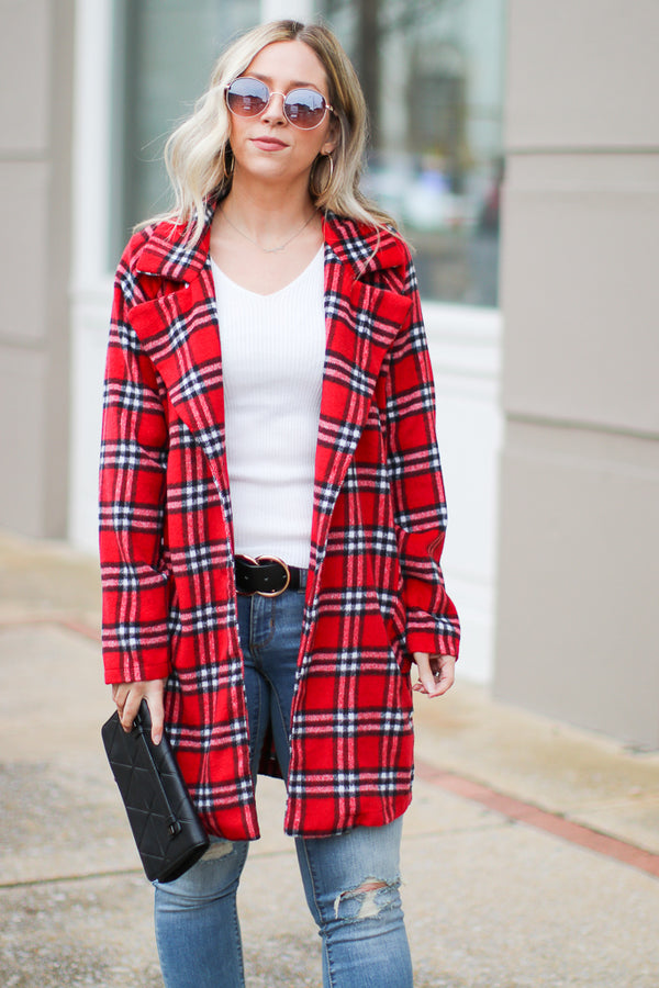 Red / S Harlow Plaid Jacket - Red - Madison + Mallory