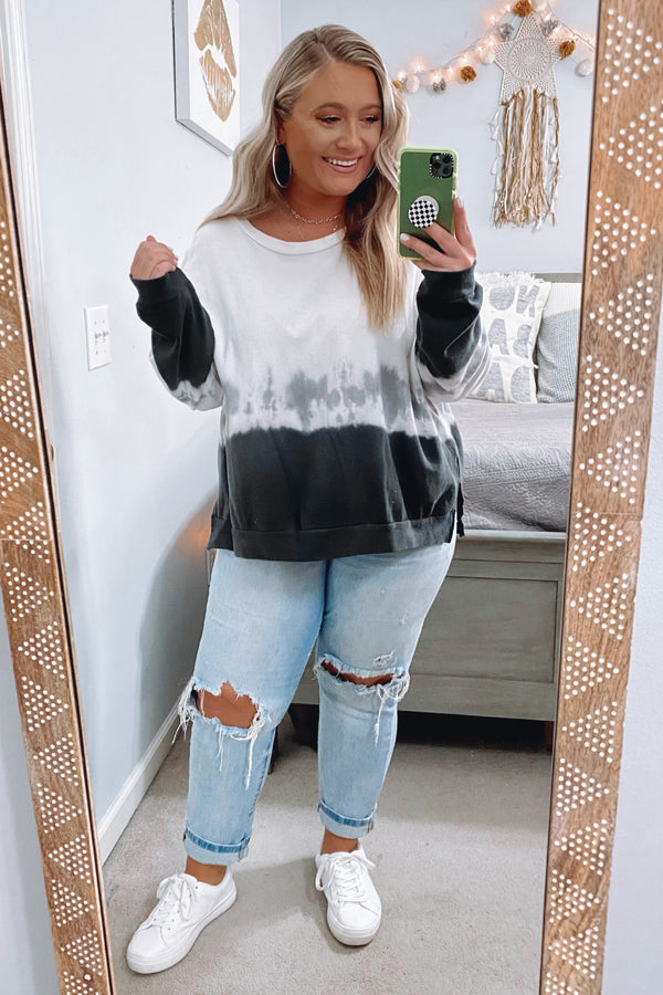 Influencer Status Dip Dye Pullover - Black Multi - Madison and Mallory