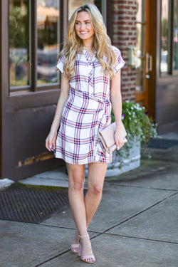 Hozier Side Tie Plaid Dress - FINAL SALE - Madison and Mallory