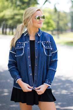 SM / Denim Happy Accidents Studded Jacket - Madison + Mallory