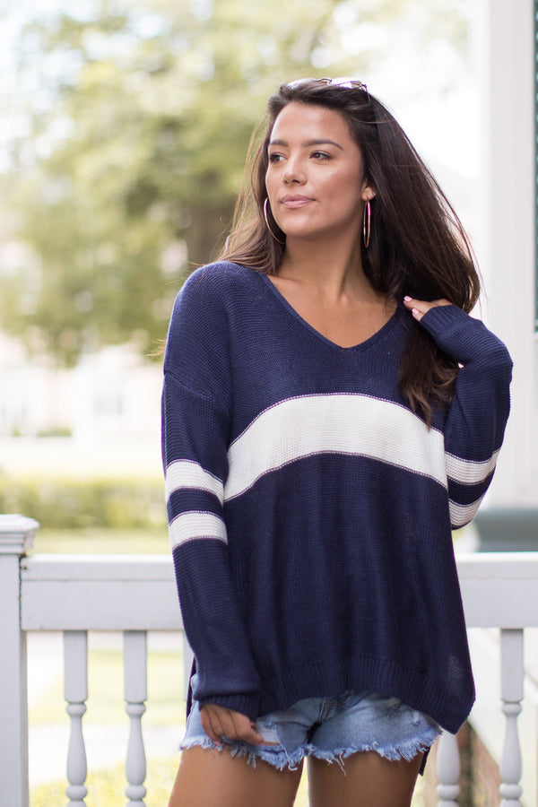 Navy White / M/L Varsity Stripe V-Neck Sweater - Madison + Mallory