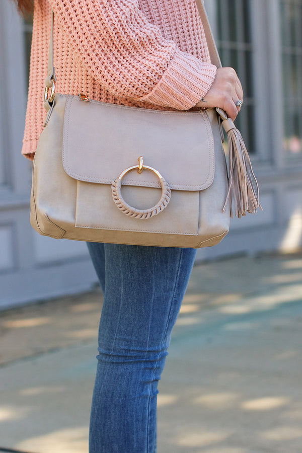 Taupe Coachella Valley Tassel Ring Bag - Taupe - Madison + Mallory