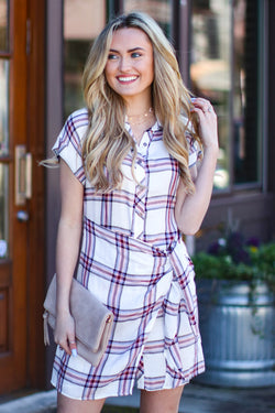 S / Off White Hozier Side Tie Plaid Dress - FINAL SALE - Madison and Mallory
