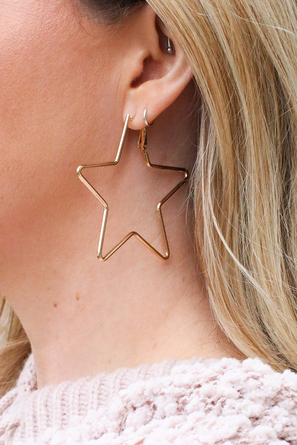 OS / Gold Star Shine Hoop Earrings - Madison + Mallory