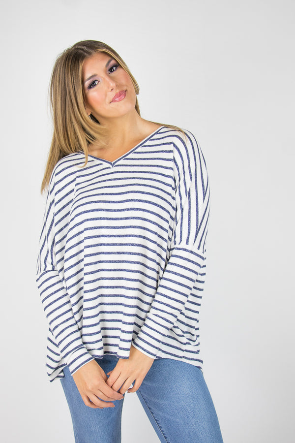 S / White Aleah Striped Top - Madison + Mallory