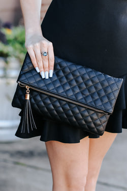 Black Glambition Quilted Faux Leather Clutch - Black - Madison and Mallory
