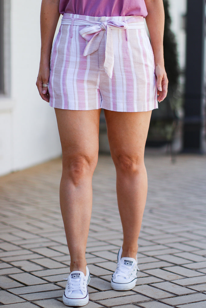 S / Multi Pocketful of Sunshine Striped Tie Shorts - Madison + Mallory