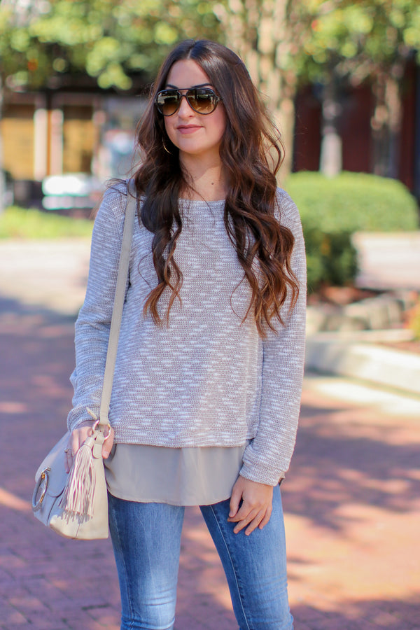 S / Khaki No Boundaries Side Slit Layered Sweater - Madison + Mallory