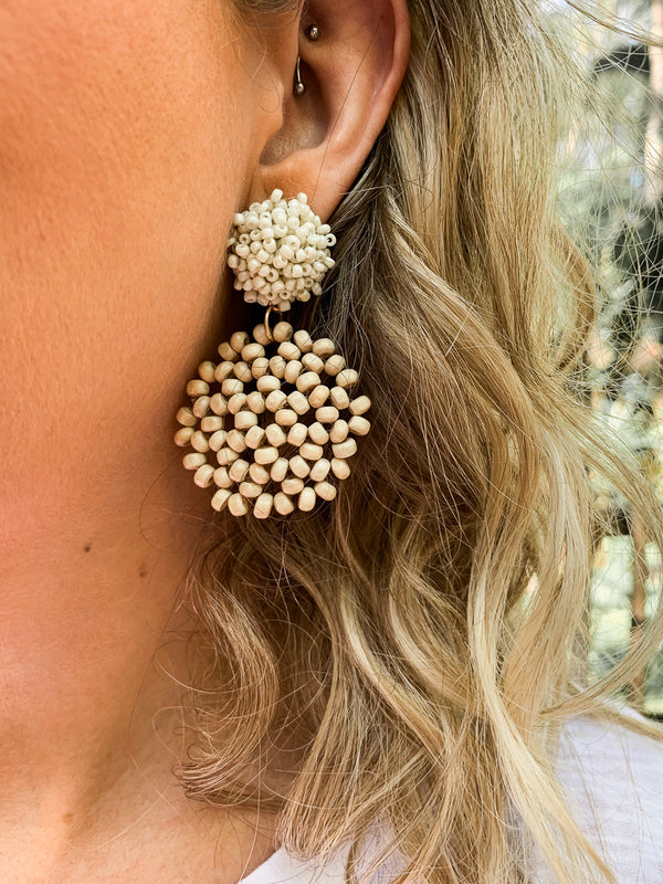Ivory Lilo Wood Beaded Circle Earrings - Madison + Mallory