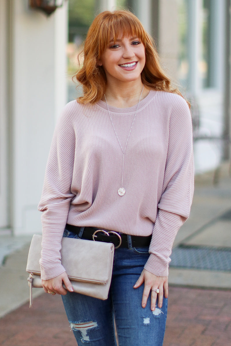 Katie Dolman Sleeve Knit Top - Rose - Madison + Mallory