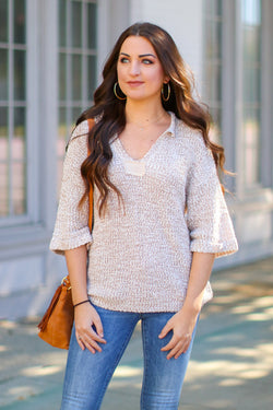 S / Oatmeal Fremont Split Neck Knit Top - Madison + Mallory