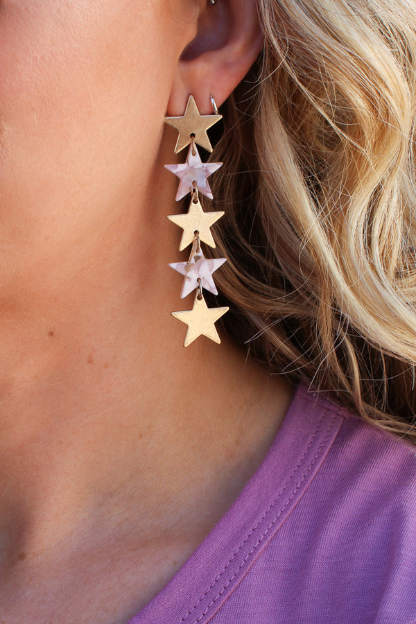 OS / Natural Rising Star Dangle Earrings - Madison + Mallory