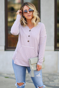 S / Mauve Mind Games Striped Knit Pocket Top - Madison + Mallory