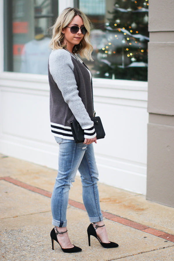 Cool School Varsity Bomber - Charcoal - Madison + Mallory