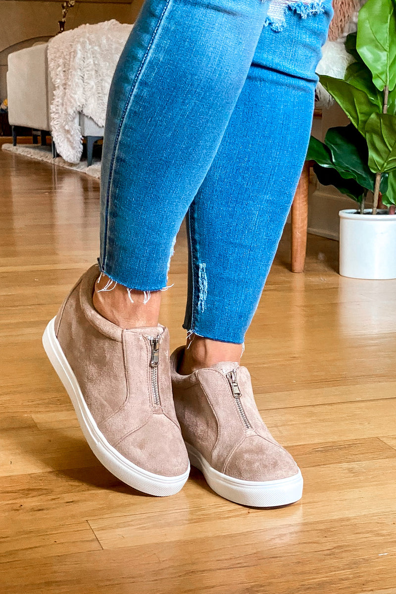 Blaise Zip Front Wedge Sneakers - Madison and Mallory