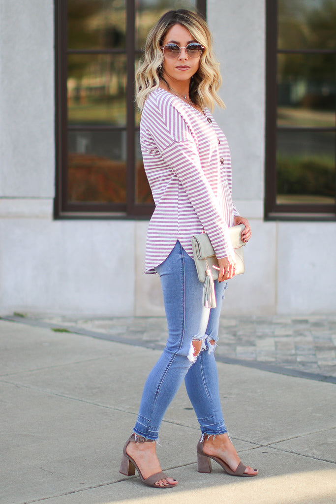 Mind Games Striped Knit Pocket Top - Madison + Mallory