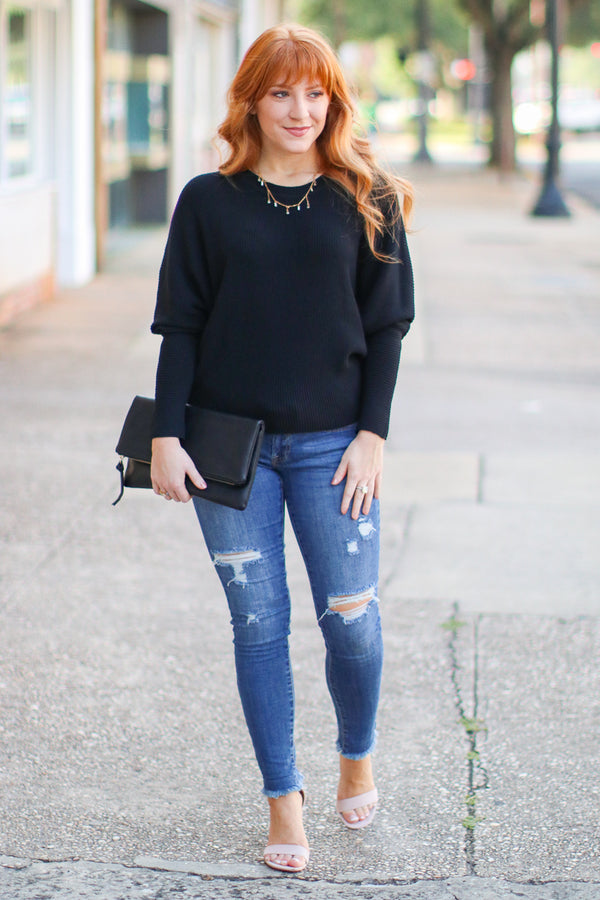 Katie Dolman Sleeve Knit Top - Black - Madison + Mallory