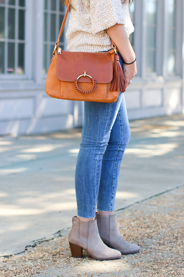 Coachella Valley Tassel Ring Bag - Cognac - Madison + Mallory
