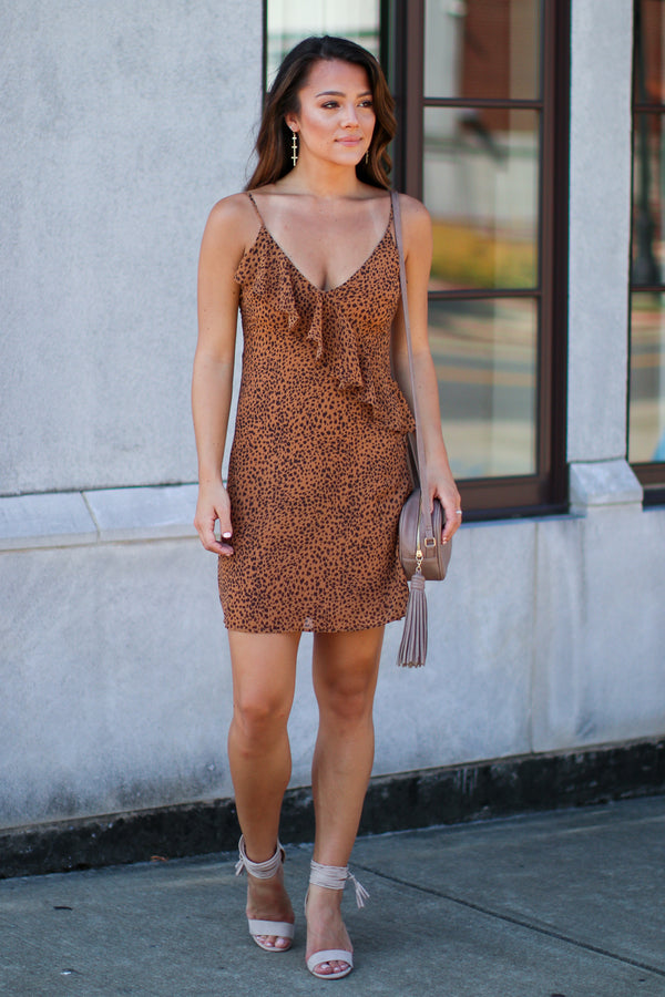 Smooth Move Ruffle Leopard Dress - FINAL SALE - Madison + Mallory