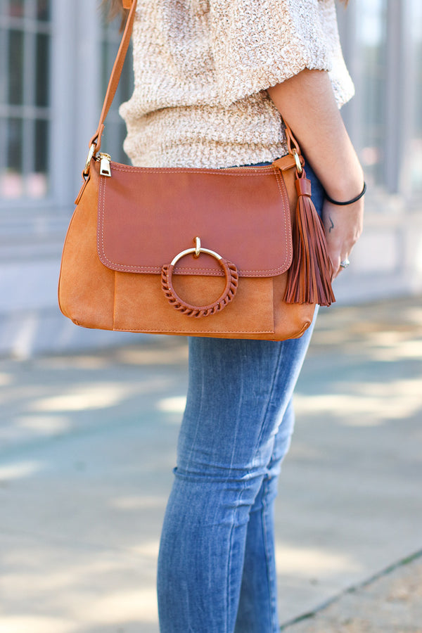 Cognac Coachella Valley Tassel Ring Bag - Cognac - Madison + Mallory