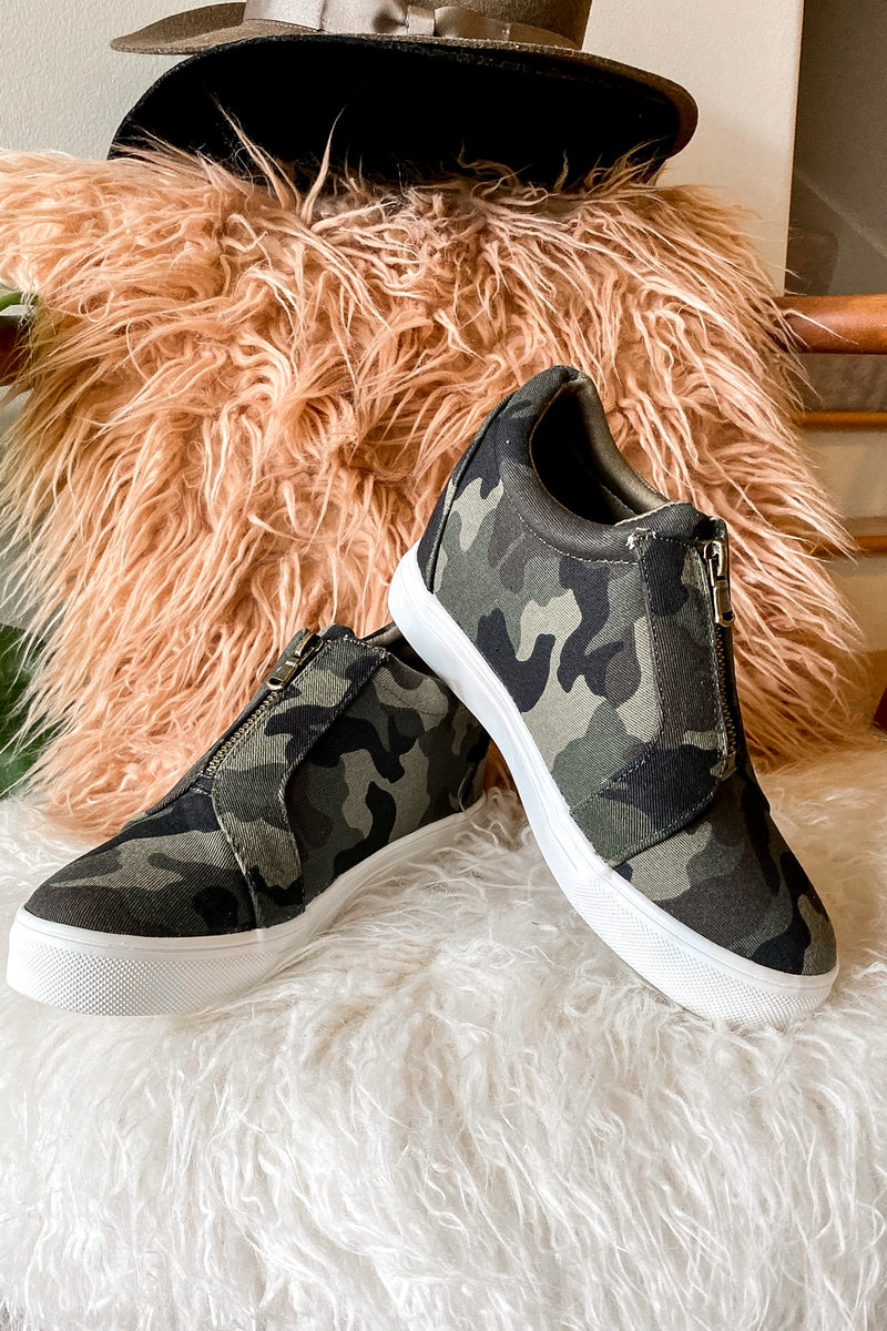 Camo / 5.5 Blaise Zip Front Wedge Sneakers - Madison and Mallory