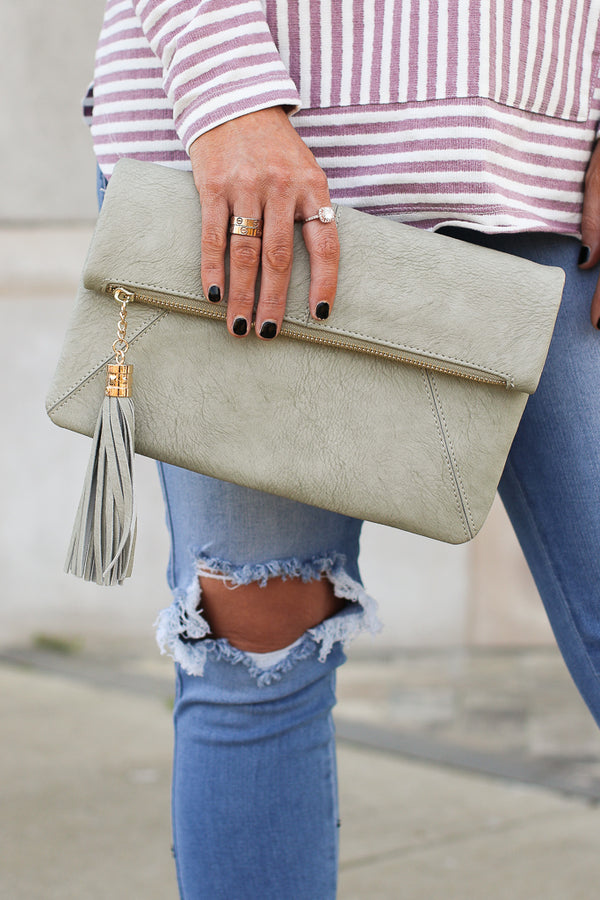 OS / Gray Olivian Tassel Crossbody Clutch - Madison + Mallory