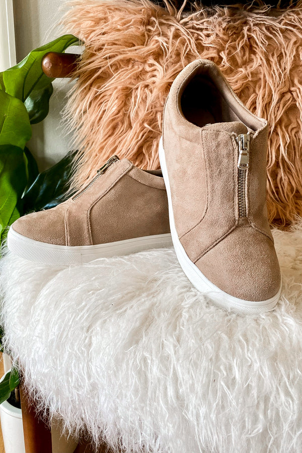 Taupe / 5.5 Blaise Zip Front Wedge Sneakers - Madison and Mallory