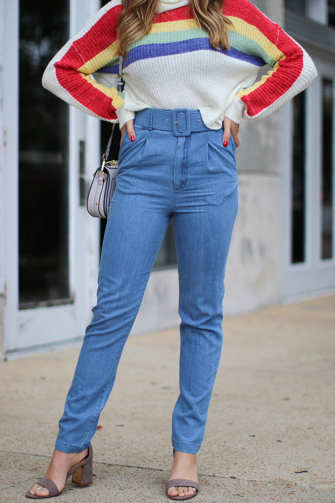 S / Blue Jesse High Waisted Belted Jeans - FINAL SALE - Madison and Mallory