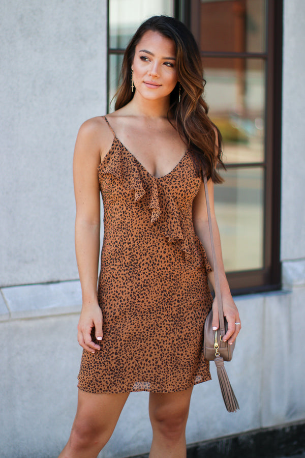 S / Brown Smooth Move Ruffle Leopard Dress - FINAL SALE - Madison + Mallory