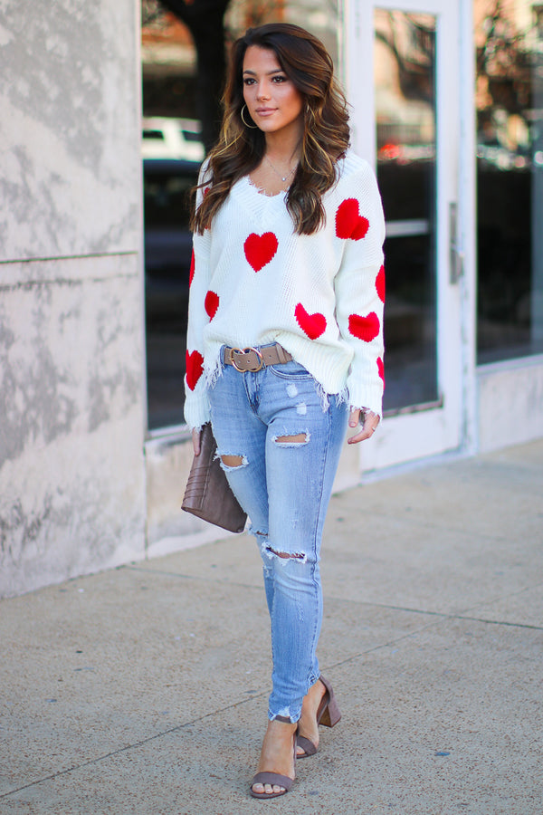 Hopeful Heart Frayed Knit Sweater - Madison + Mallory