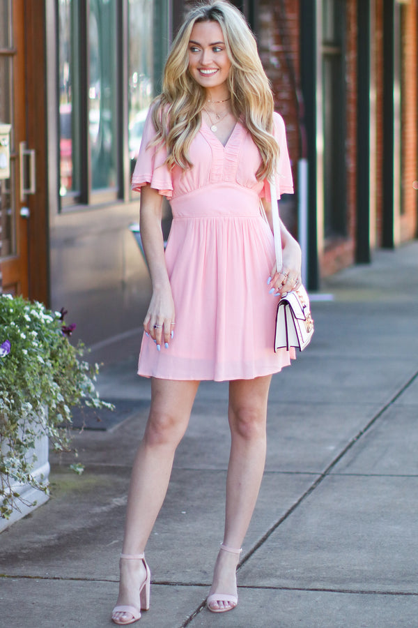 S / Peach Song for Tomorrow Flutter Sleeve Dress - Peach - Madison and Mallory