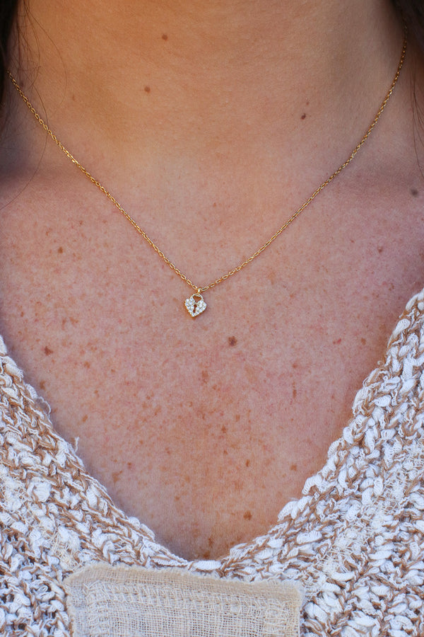 Gold Stuck in a Dream 14KT Lock Charm Necklace - Madison + Mallory