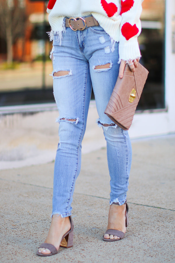 3/25 / Light Elias Distressed Jeans - Madison + Mallory