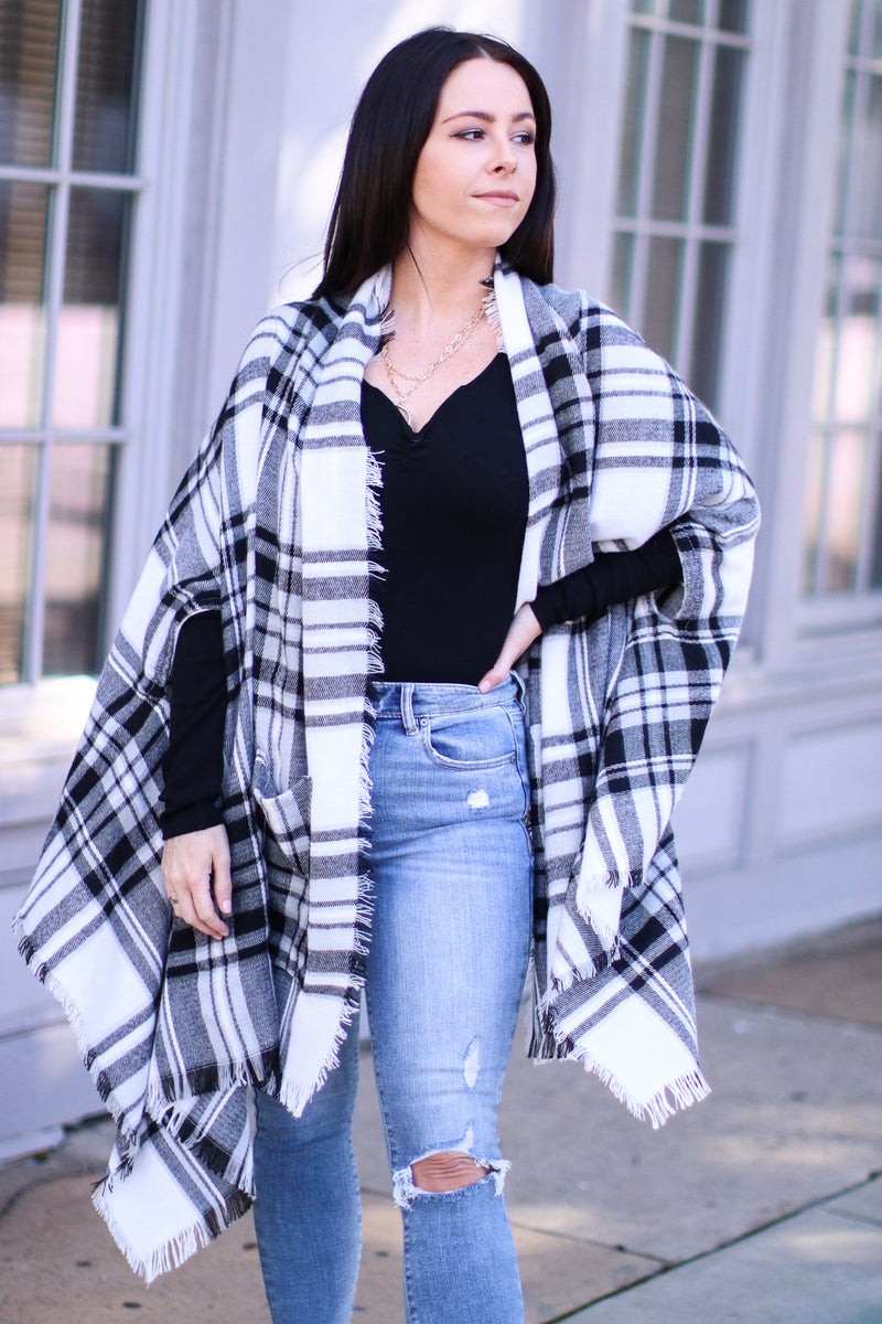 OS / White Cuddling Up Plaid Pocket Poncho Cardigan | Doorbuster - Madison and Mallory