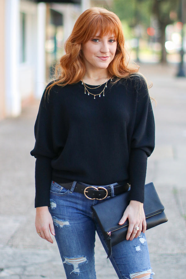 Black / S Katie Dolman Sleeve Knit Top - Black - Madison + Mallory